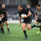 Joe Moody runs with the ball during an Al Blacks training session at Forsyth Barr Stadium...