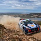 Hayden Paddon and co-driver Seb Marshall in their  Hyundai i20 Coupe during Rally Sardinia in...
