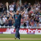 Jonny Bairstow celebrates his century during England's record-breaking ODI innings. Photo: Getty...
