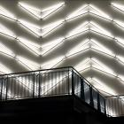 Australian artist Jonathan Jones takes a picture on his cellphone of his light installation on...