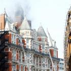 Police said the hotel was being evacuated due to the fire in the roof. Photo: Reuters