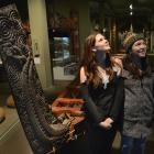 Tauranga essay competition winners Carla Roberts (left) and Amy McAulay check out exhibits at the...