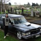 Oamaru's John McLay at Oamaru Old Cemetery with his 1974 Cadillac hearse. PHOTO: DANIEL BIRCHFIELD