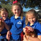 St Andrews Primary School pupils (from left) Maggie Macdonald,  Skyla Hopkins and Syesha Goodger ...