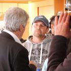 Agriculture Minister Damien O'Connor talks to Morven sharemilker Leo Bensegues during the recent...