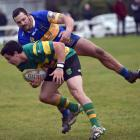 The premier club rugby match between Greenisland and Taieri at Miller Park on Saturday. PHOTO...