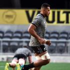 Shannon Frizell trains yesterday ahead of France test at the Forsyth Barr Stadium. Photo: Peter...