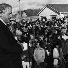 Prime Minister Norman Kirk opening the Milton fire brigade's new building in early July 1974....