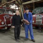 Dunedin Fire Brigade Restoration Society president Joe Hayde (left) and vice-president Gary...