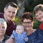 Five generations of one family gathered in Mosgiel on Saturday. They were (from left): Ann Oliver...