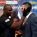 Dillian Whyte (left) and Joseph Parker go head-to-head after a press conference at Canary...
