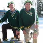 Lowburn Curling Club president Gordon Stewart (left) and New Zealand Curling Association My Lord...