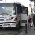 A back-up Pine Hill bus stops in George St after several Ritchies vehicles experience mechanical...