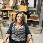 Technology teacher Kathleen Hepburn sits in one of the final projects she made with her South...