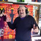 Sarah McDougall and artist Ewan McDougall in front of his artwork, The Way to Paradise, the...