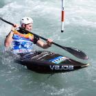 Alexandra paddler Finn Butcher navigates a gate at the canoe slalom under-23 and junior world...