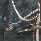 Global wanderer Rhys Lawrey tries bungy-jumping at the Kawarau Bridge bungy site after reaching...
