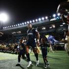 Waisake Naholo of the Highlanders runs out for the Super Rugby match between the Highlanders and...