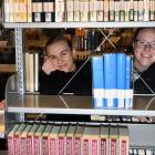 In the reference section of the University of Otago central library are students (from left) Nor...