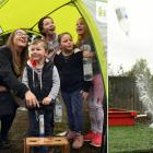 English space engineer Sian Cleaver helps launch water rockets with children at a Dunedin...