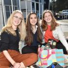 Christchurch friends (from left)  Katie Ryan (18), Izzy Bloxham (17) and Jodie Worthington (17)...