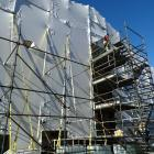 Scaffolding at the rear of the historic Oamaru courthouse in Thames St, where work to prepare the...