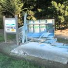 The women's fifth tee shelter shed lies in ruins after a 4WD was driven over North Otago Golf...