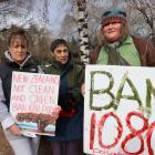 Protesters (from left) Joy Drake, Babe Lewis and Helen Lewis. Photo: Paul Taylor