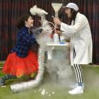 Actors Lydia Bernard (22), as Estelle, and Orion Carey-Clark (23), as Charlie, use dry ice as...