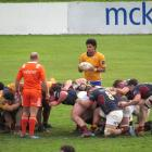North Otago XV halfback Inoke Naufahu prepares to feed a scrum during the game against Southland...
