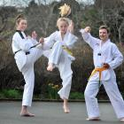 Kaikorai Valley College pupils (from left) Hanna Ingram (16), Jade Duffy-Maxwell (12) and James...
