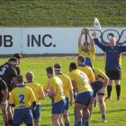 Valley flanker Sam Sturgess prepares to throw to a lineout during the Citizens Shield semifinal...