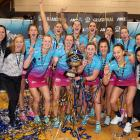 Steel players and staff celebrate after winning the ANZ Premiership grand final at Fly Palmy...