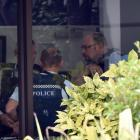 Police at the bank in Mosgiel after the robbery in February. Photo: ODT