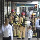 Firefighters at the scene of a reported gas leak in George St this morning. Photo: Gerard O'Brien