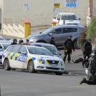 The armed offenders squad in Wansbeck St, Oamaru on Friday. Photo: Supplied