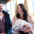 Prime Minister Jacinda Ardern at Wellington Airport today with baby Neve and partner Clarke...