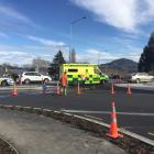 Emergency services at the scene of the collision at the roundabout in Green Island. Photo: Gregor...