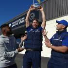 Otago Mitre 10 Cup lock Tom Rowe hoists a 4kg circle of Whitestone Cheese's Ohau Goat's Blue...