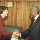 Helen Clark meeting the former UN Secretary-General Kofi Annan in Wellington in 2000. Photo:...