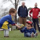 Twins Ollie (left) and Harry Finch play at Miller Park, while in behind is dad Regan Finch (left)...