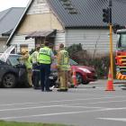 Emergency services at the scene in Invercargill today. Photo: Sharon Reece