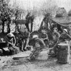 """Kapai te kai'': Maori pioneers awaiting their evening meal near the front on the Somme. - Otago..."