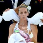 Krisyna Pliskova cools off during her match today at the US Open. Photo: Getty Images