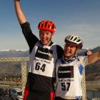 Chris Forne, of Queenstown, and Joanna Williams, of Wanaka, celebrate winning the Peak to Peak...