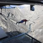 ODT reporter Joshua Walton takes on the Nevis Catapult in the Nevis Valley yesterday. Photo:...