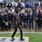 John McGlashan College unveiled a sculpture yesterday  to mark the school's centenary. Photos:...