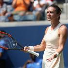 Simona Halep reacts frustrated during her first round upset at the US Open. Photo: Getty Images
