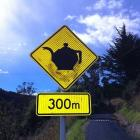 "A ""modified"" sign in Waitati expresses a sense of community. Photos: Supplied"