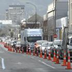 Vehicles backed up in Castle St, Dunedin, as cycleway construction continues. Photo: Gerard O'Brien
